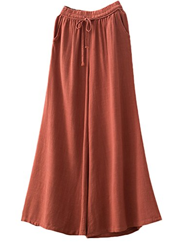 Minibee Women's Comfy Wide Leg Pants Linen Elastic Drawstring Culottes Lounge Trousers Orange Red