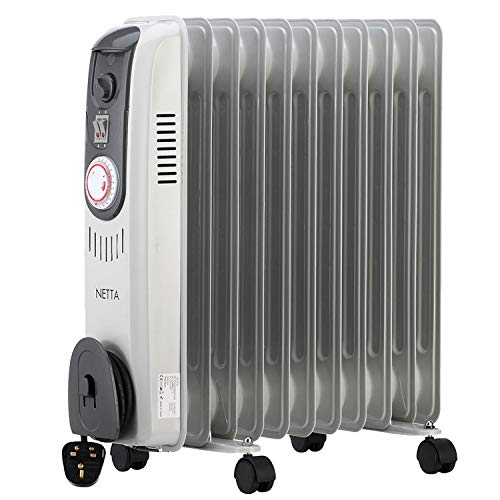 NETTA 2500W Oil Filled Electric Heater Radiator with Thermostat & 24 Hour Timer 2 Power Settings- 11 Fin