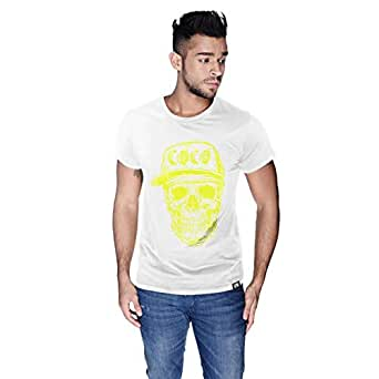 Creo Yellow Coco Skull T-Shirt For Men - S, White