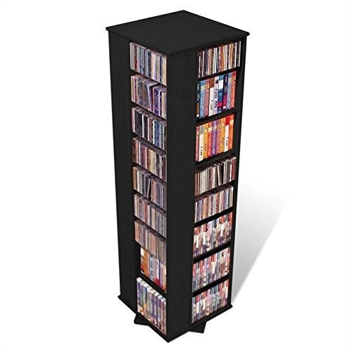 Bowery Hill 64'' 4 Sided CD DVD Spinning Media Storage Tower in Black