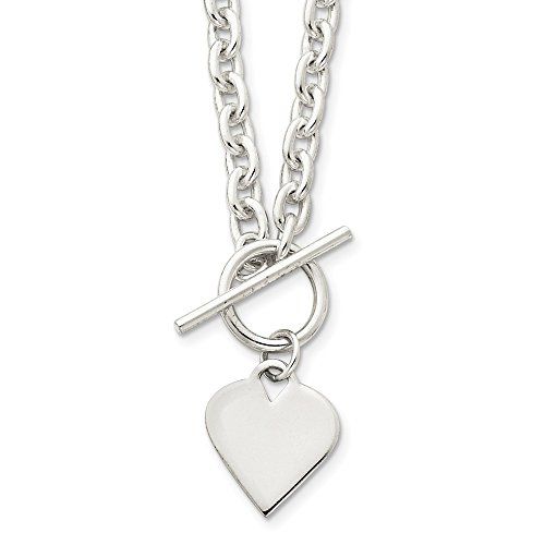 - Mia Diamonds 925 Sterling Silver Solid Engraveable Heart Toggle Necklace -18