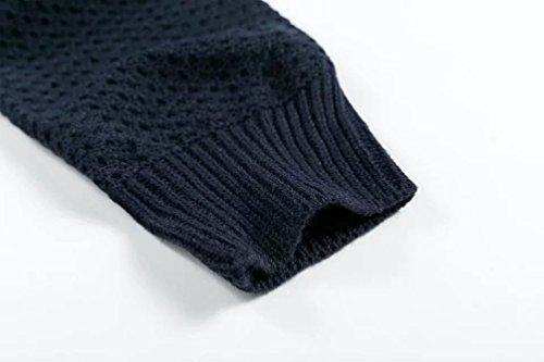 YAANCUN Mujer Nuevo Otoño Suéter Loose Pullover Jerseys Manga Larga Negro