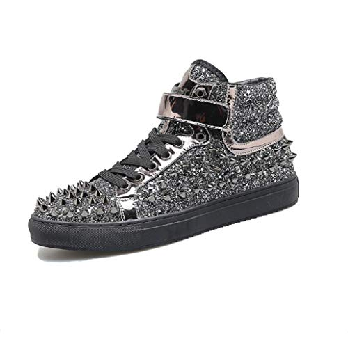 - XUEXUE Men's High-Top Sneakers/Leather Rivet Shoes/Driving Shoes/Sparkling Glitter Studded Shoes/personality / Party & Evening/Night Club Stage/Martin Boots