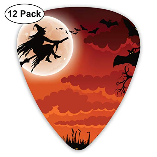 Halloween Pumpkins Bats And A Wicked Witch Flying On Her Broomstick Bendy Ultra Thin 0.46 Med 0.73 Thick 0.96mm 4 Pieces Each Base Prime Plastic Jazz Mandolin Bass Ukelele Guitar Pick Plectrum Display ()