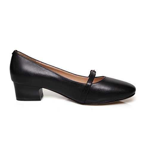 Balamasa Femmes Talons Carrés Boucle Romane Style Cuir De Vache Pompes-chaussures Noir