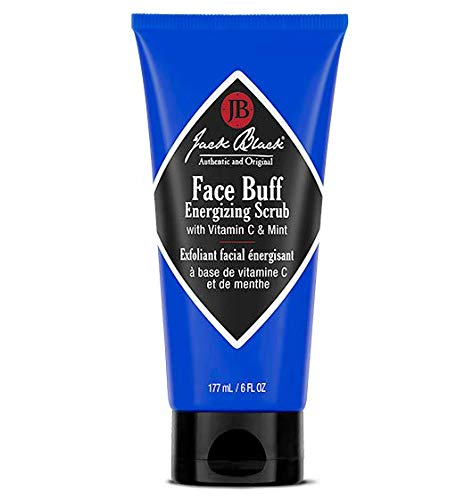 JACK BLACK – Face Buff Energizing Scrub – Deep-Cleaning Pre-shave Cleanser and Scrub, Reduces Ingrown Hairs, Exfoliates Skin, Removes Oil, Dirt, and Dead Skin Cells, 3 and 6 oz.