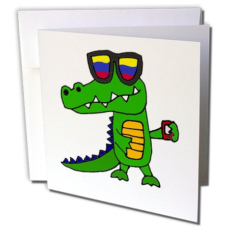 """Price comparison product image 3dRose Funny Cool Alligator in Sunglasses with Cell Phone - Greeting Card, 6"""" x 6"""", Single (gc_240618_5)"""
