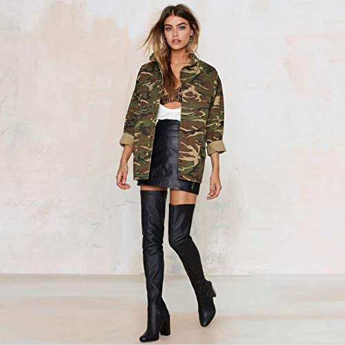 Xcxka Collare Tasca Outwear Stand Manica Camouflage Giacca Lunga Army Donna Streetwear Moda Green Sciolto Cerniera BrwqSBY