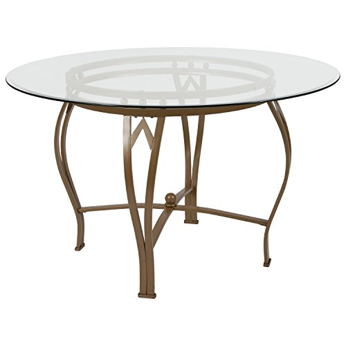 Flash Furniture Syracuse 48'' Round Glass Dining Table with Matte Gold Metal Frame 48' Round Tempered Glass