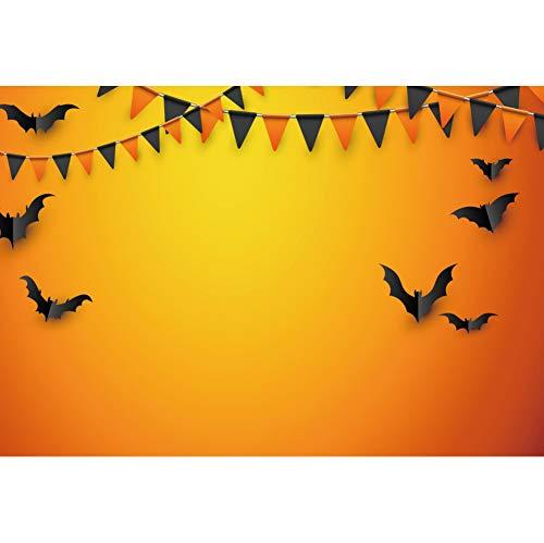 Laeacco All Saint's Day Backdrop 10x8ft Halloween Orange Vinyl Photography Background Black Orange Flags Bat Fancy Ball Costume Party Autumn Holiday Carnival Studio Photo Prop Decor Portrait Shoot]()