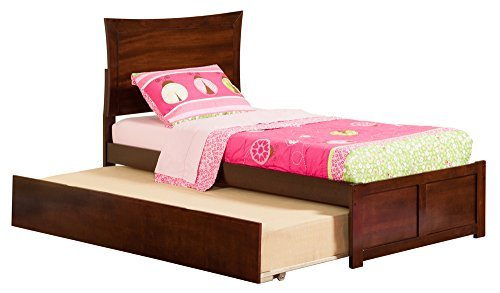 Metro Bed with Flat Panel Foot Board and Urban Trundle, Twin, Antique Walnut (Trundle Bed Antique Walnut)
