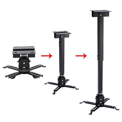 LESHP - Proyector ajustable(montaje de techo o mural) ,Cargar20 Kg, Ajustable Entre 130mm y 650mm, inclinación +/-15ºcolor negro ,para proyector LCD ...