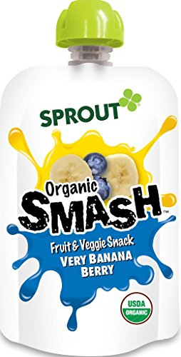 Sprout Organic SMASH Snack Pouches Fruit and Vegetable Puree, Very Banana Berry, 3.2 Ounce, 16 Count