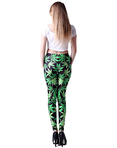 HDE Women's Funky Digital Print Design Graphic Stretch Footless Fashion Leggings (Marijuana Leaf, Medium)