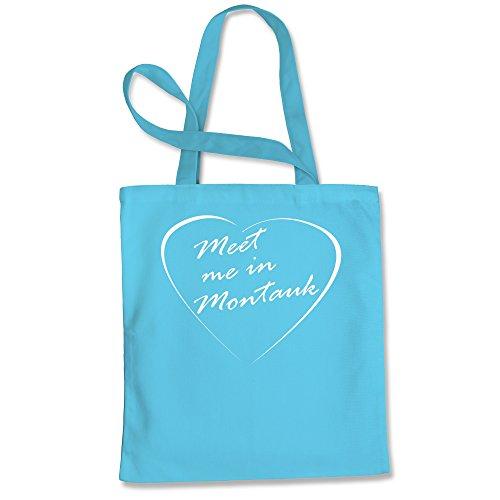 Montauk Apparel Blue (Tote Bag Meet Me in Montauk Eternal Sunshine Words of love Sky Blue Shopping Bag)