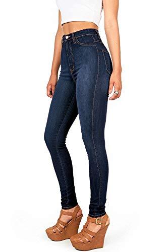 Pantalones Cintura Estiramiento Del Bolsillos Libre Al Delgados Lápiz Moda Botones De Ropa Delanteros Alta Vaqueros Aire Casuales Dunkelblau rq4rU