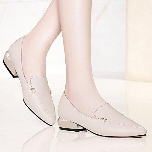 De Grueso Cuero Coreana Zapatos Primavera Mujer Ocasionales Beige Tacón Para Verano De De Zapatos Zapatos JQNSX Moda UPq0Zq