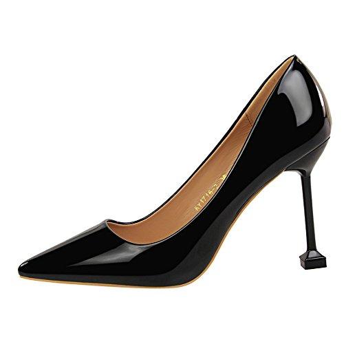 Xue Punta salvaje 36 negro boda fina solo zapatos altos de tacones superficial zapatos Qiqi con de boca de negro rojo plata Chica FFxRAqrnw5