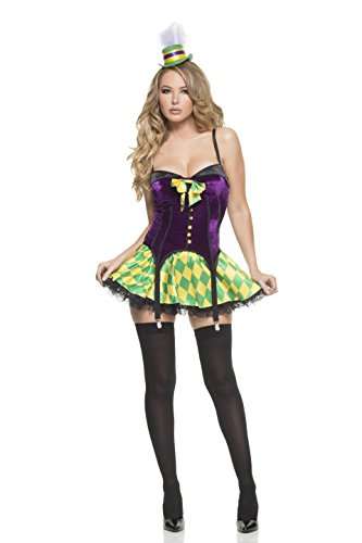 Mystery House Women's Mardi Gras Girl, Purple/Yellow/Gree...