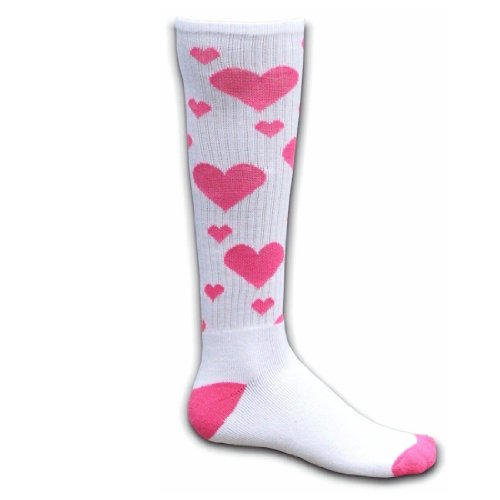 Red Lion Hearts Knee High Socks ( White / Neon Pink - Small ) (Pink Heart Socks White)