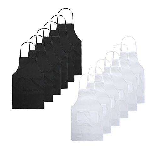 TSD STORY Total 12 PCS Plain Color Bib Apron Adult with 2 Front Pocket (Black+White) by TSD STORY