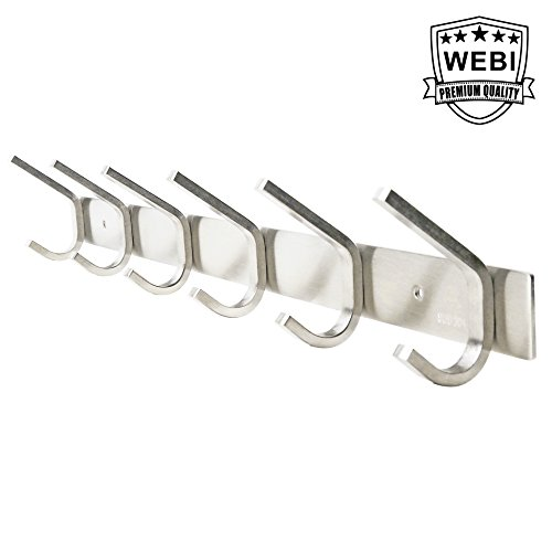 WEBI Heavy Duty SUS 304 Coat Bath Towel Hook Hanger Rail Bar with 6 Hooks, Brushed Finish, for Bedroom, Bathroom, Foyers, Hallways, Entryway, for Great Home, Office Storage & Organization, C-CBG06 (Bar Hanger Coat)