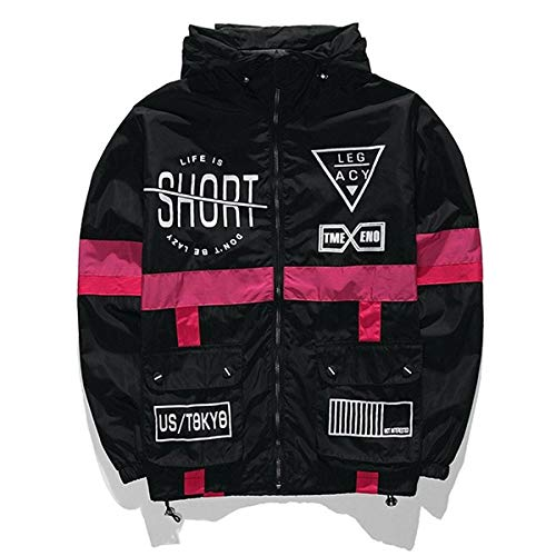 AITFINEISM Men's Fashion Lightweight Hooded Zip-up Letter Windbreaker Jacket (Small, Black) (Graphic Bomber Jackets For Men)