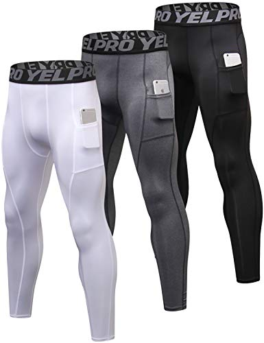 Lavento Men's Compression Pants Baselayer Cool Dry Pocket Running Ankle Leggings Active Tights (3 Pack-3911 Black/Gray/White,X-Large)