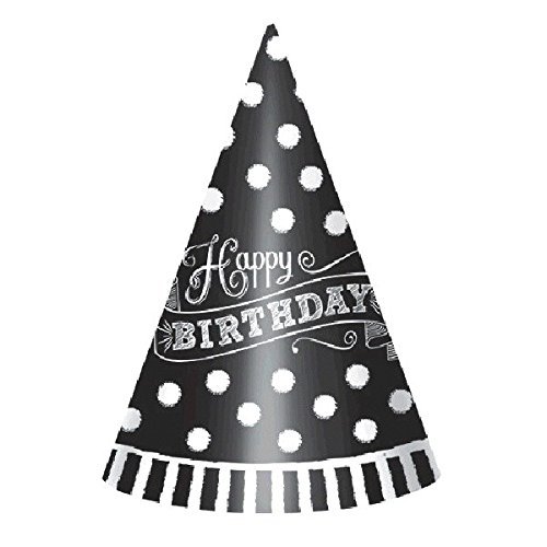 Amscan Colorful Black & White Paper Cone Party Hats Party Supplies, Black and White, 7
