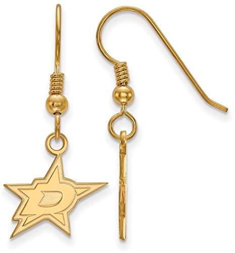 Logoart Dallas Stars Earring - Gold-Plated Sterling Silver NHL Dallas Stars Small Dangle Earrings by LogoArt