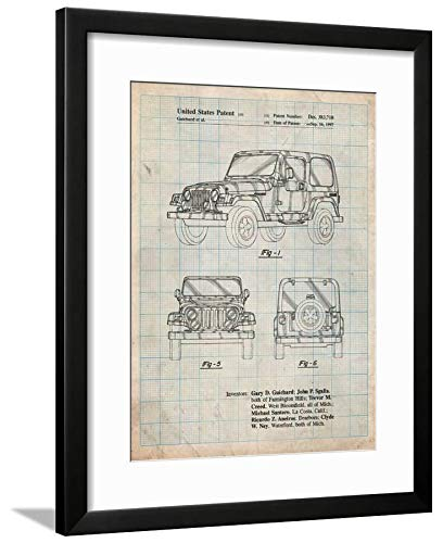 ArtEdge Jeep Wrangler 1997 Patent by Cole Borders, Wall Art Framed Print, 24x18, Black Soft White Mat