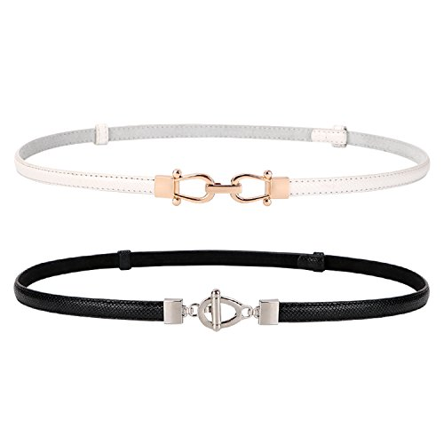XZQTIVE 2 Pack Leather Skinny Women Belt with Interlocking Buckle, Thin Waist Belts for Dresses Up to 37