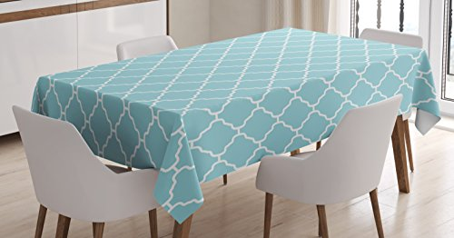 Ambesonne Garden Tablecloth by, Big and Small Florets Daisies Spring Field Rural Cottage Corsage Zen Decor, Dining Room Kitchen Rectangular Table Cover, 60 W X 84 L Inches, Light Blue White ()