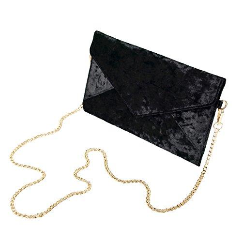 Flap Bag Evening Velvet Black Tassel Crushed Purse Envelope Clutch Premium Large q8X4wxw6