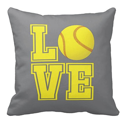 Softball Pillow & Cover, Pool, Purple LOVE, Yellow Ball - ANY COLORS, Girl's Custom Throw Pillow, 14x14