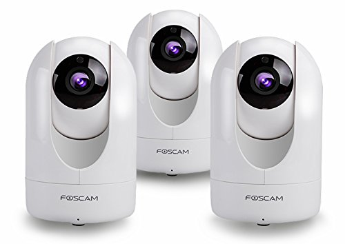 Foscam 1080p Indoor FHD Wireless Security Camera, Compact, White (R2W 3-Pack)