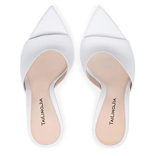 L Pumps Mujeres Zapatos yc Toe Tamaño Moda Peep White Las Sandalias Tacón Alto De Clásicos PrPwxH0