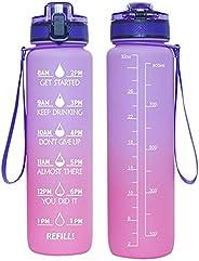 32oz Water Bottle, BPA Free Water Bottle Hydration with Motivational Time Marker Reminder Leak-Proof Drinking