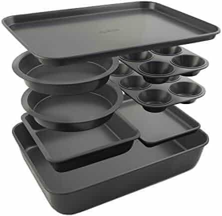 Elbee Home 8 Piece Baking Pan Set, Patented Space Saving Self Storage Design, Nonstick Carbon Steel Bakeware Set