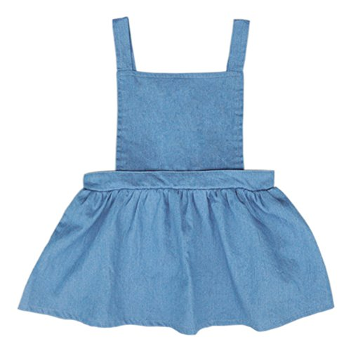 Denim Suspenders (YOHA Baby Girls Denim Soft Jumper Dress Suspender Skirts Pinafore Tutu Dress Jeans,100)