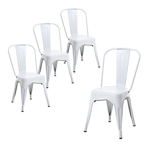 Buschman Set of Four Matte White Tolix-Style Metal Indoor/Outdoor Stackable Chairs with Back