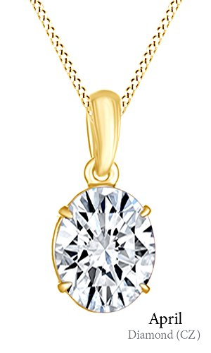 Jewel Zone US AFFY Women's Classic Cubic Zirconia Oval Shape Pendant Necklace in 10k Solid Yellow Gold (1 (Cubic Zirconia Oval Shape)