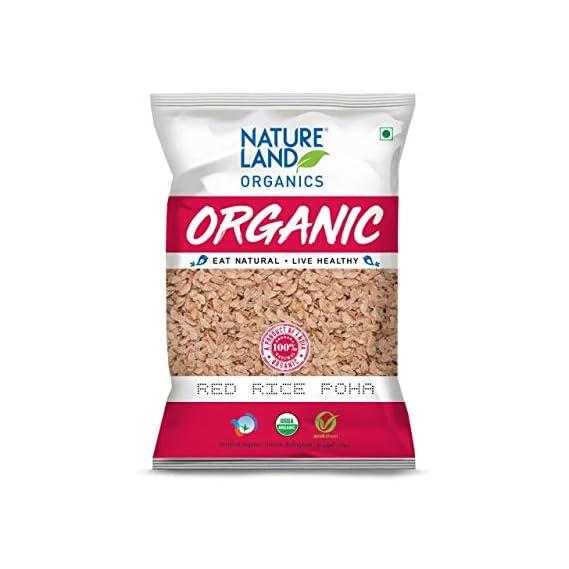 Natureland Organics Red Rice Poha 500 Gm - Organic Healthy Poha