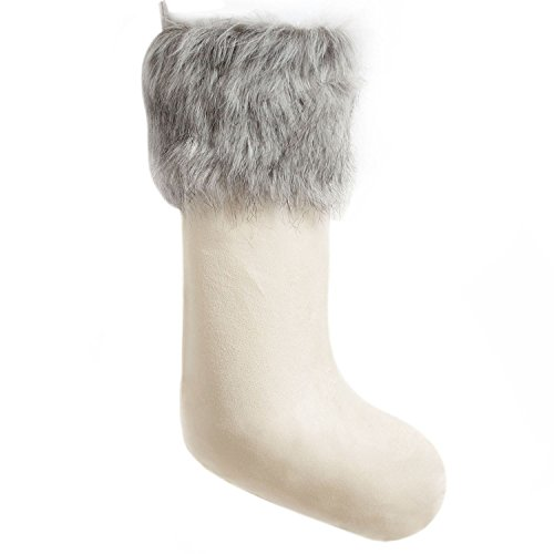 Gireshome Ivory Suede with Faux Fur Cuff Christmas Stocking Xmas Tree Decor Festival Party Ornament 10