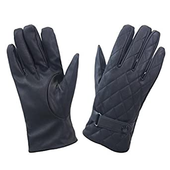 ccc088e2526 Mens Designer Button Fasten Detail Leather Glove Winter Warm Lined Outdoor  Smart Casual Glove M-XL