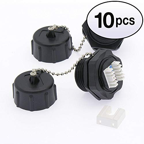 GOWOS (10 Pack) Cat.6 RJ45 Shielded Industrial Panelmount Jack with Dust Cap