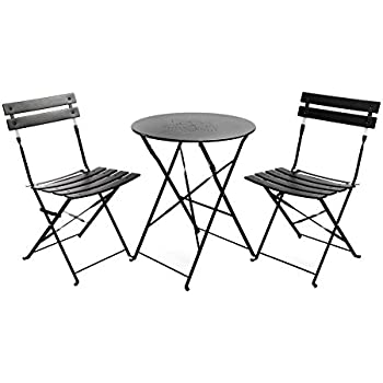Beautiful Finnhomy Slatted 3 Piece Outdoor Patio Furniture Sets Bistro Sets Steel  Folding Table And Chair Set Part 13