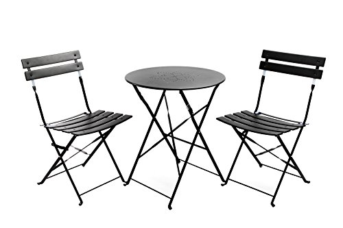 Finnhomy Slatted 3 Piece Outdoor Patio Furniture Sets Bistro Sets Steel Folding Table and Chair Set with Safe Lock for Indoors and Outdoors Bistro Table Chair Sets Backyard/Bistro/Patio/Lawn Black Bistro Table Chair Set