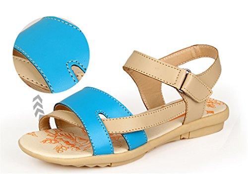 Auspicious beginning Comfy Peep Toe Leather Sandals Flat Beach Shoes For Women Blue 6e7TXE