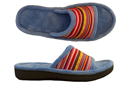 Isotoner Womens Microterry Alex Tribal Print Slide Slipper